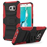 Galaxy S6 Edge+ Case, MoKo Shock Absorbing Hard Cover Ultra Protective Heavy Duty Case with Holster Belt Clip + Built-in Kickstand for Samsung Galaxy S6 Edge+ (Plus) 5.7 Inch - Red