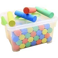 HelloCreate 50 Piezas de Caja de Almacenamiento de Tiza de Color Juego de Tiza de Acera con Caja de Transporte Tiza de Color Lavable Juguete para Niños Al Aire Libre