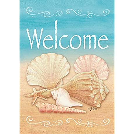 Toland Welcome Shells Decorative Double Sided Beach Summer Conch USA Produced Garden Flag