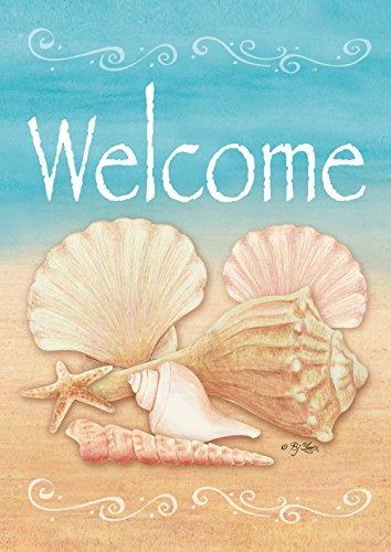 Toland Home Garden Welcome Shells 28 x 40 Inch Decorative Su