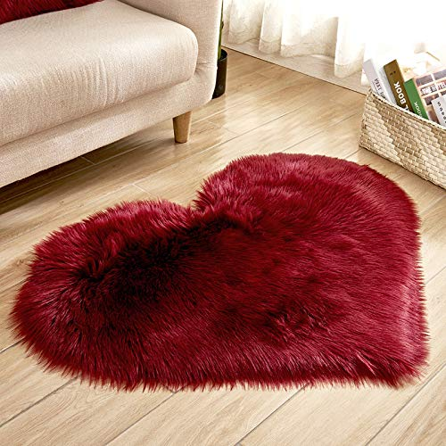 (Heart Shaped Soft Faux Sheepskin Fur Area Rugs for Home Sofa Floor Mat Plush, 3ft x 2.2ft (Wine Red))