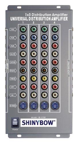 1x5 (1:5) 5-Way Component/Composite/S-Video + Digital/Analog Audio Splitter Distribution Amplifier (Analog Composite)