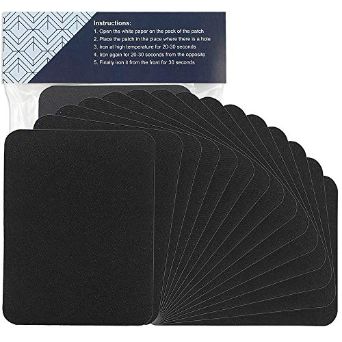 affordable 15pcs Iron on Patches Large Size 4.9 Inches x 3.7 Inches Black Fabric Repair Kit for Clothes, Jeans