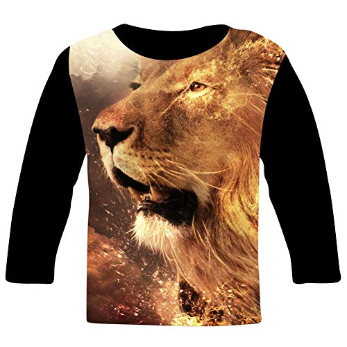 (HNkiha Youth 3D Printed Fantasy Fire Lion Face Casual T-Shirt for Boy Girl Design Long Sleeves Tee Fashion Style M)