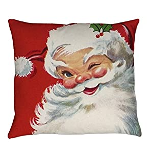 """SIXSTARS Vintage Christmas Jolly Santa Clau Square Pillowcase Cushion Cover Case 18"""" X 18"""" from KpopBaby"""