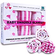 Muslin Bamboo Swaddle Blanket [Set of 3] for Baby Girls by Pamper Bear - Pink