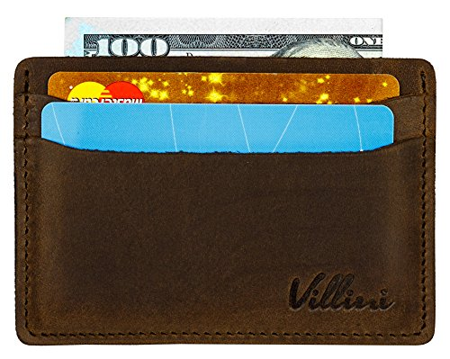 Villini Leather Slim Credit Card Holder - Front Pocket Wallet - Minimalist Card Case (Brown)