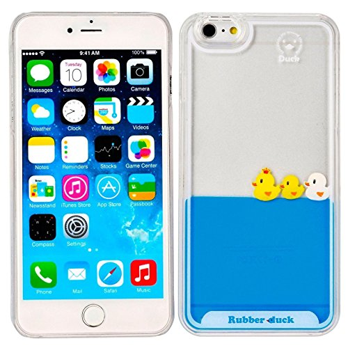 iPhone 7 Plus Case,Creative Design Ducks Swimming in Blue Water Floating Liquid Transparent Hard Back Case with Soft