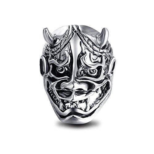EVBEA Hannya Mask Ring Japanese Jewelry Mens Big Statement Biker Cool Devil Rings