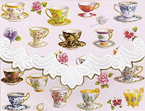 Carol Wilson Teacups 10 ct Embossed Note Card Set For Arts Sake Embossed Cup