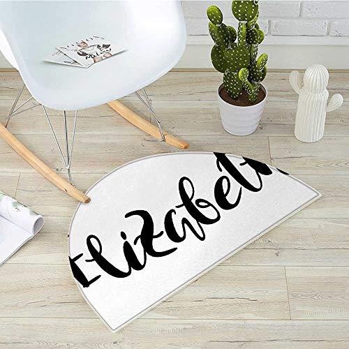 Elizabeth Half Round Door mats Monochrome Inscription Style Modern Calligraphy Design Popular Girl Name Bathroom Mat H 23.6