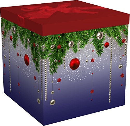 Gift Box for Christmas Holiday Easy to Assemble No Glue Required with Ribbon, Tissue and Gift Tag - Silent Night Collection EZ Gift Box by Endless Art US (9x9x9)