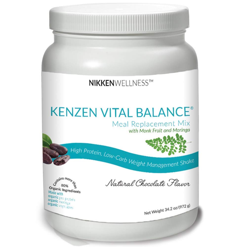 Nikken Kenzen Vital Balance® Certified Kosher High-Protein Organic Meal Replacement Mix Sweetened with Monk Fruit with 30 Servings (Chocolate)