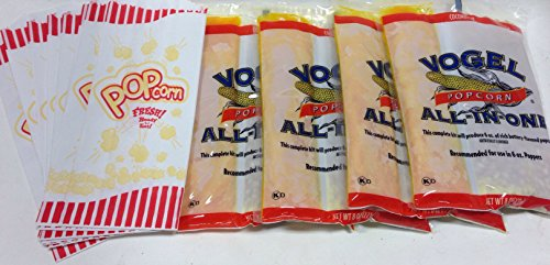 Vogel All In One Popcorn Bundle  Four 6 Oz Rich Buttery Flavor And 20 Paper Popcorn Bags