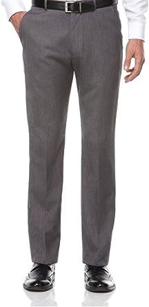 Amazon Com Perry Ellis Fine Textura Rayas Hombres Pantalones De Vestir 36 Cintura X 30l Pierna Carbon Clothing