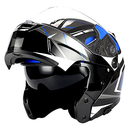 1Storm Motorcycle Modular Full Face Helmet Flip up Dual Visor/Sun Shield Racing - Helmet Motorcycle Blue Modular