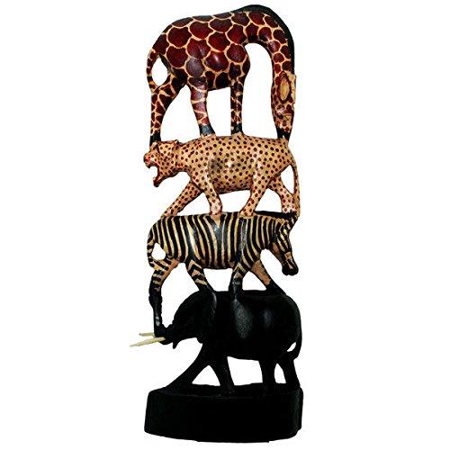 Indoor Wood Hand-carved WA072--18 Stacked Animals Column (Kenya) (Stacked Animals)