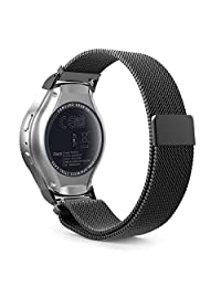 Gear S2 Watch Band, MoKo Milanese Loop Stainless Steel Bracelet Smart Watch Strap + Connector for Samsung Gear S2 SM-R720 & SM-R730 Smart Watch (Not Fit Gear S2 SM-R735), BLACK