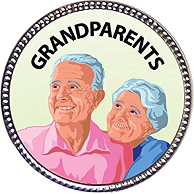Keepsake Awards Grandparents Award, 1 inch Dia Silver Pin Serving Others Collection: Toys & Games