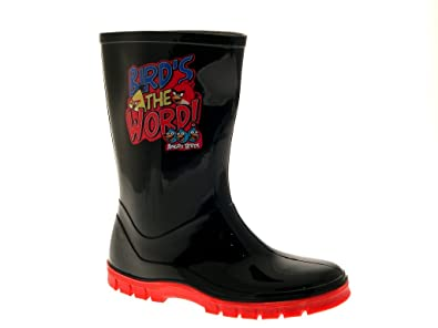 990839cd79e0 KIDS BOYS GIRLS CHILDRENS ANGRY BIRDS WELLIES SNOW WARM WINTER WELLINGTON  BOOTS BLACK RED SIZE JUNIOR