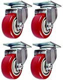 4 Pack Caster Wheels Swivel Plate Stem Break Casters On Red Polyurethane Wheels 880 Lbs (3 Inch Plate)