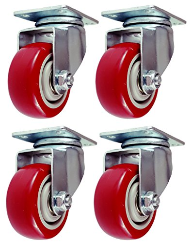Online Best Service 4 Pack Caster Wheels Swivel Plate Casters On Red Polyurethane Wheels (3 Inch Plate)