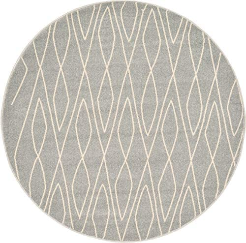Unique Loom Fez Collection Moroccan Tribal Gray Round Rug 6 0 x 6 0