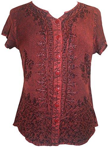 Boho Gypsy Top - Agan Traders 144 B Medieval Boho Top Shirt Blouse (Large, Burgundy)