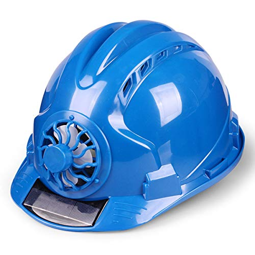 Adjustable Construction Helmet With 'Solar Fan' Vents-Meets ANSI Standards-Personal Protective Equipment, for Construction,Home Improvement And DIY Projects/PP (Color : Blue) ()