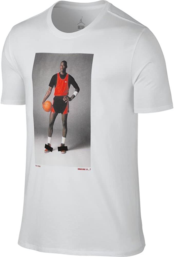 NIKE AJ 1 Banned Photo tee Camiseta de Manga Corta, Hombre, Blanco (White/Gym Red), S: Amazon.es: Ropa y accesorios
