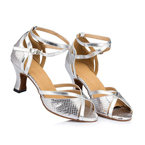 Leather De Chunky Mode uk5 Ballroom Strappy Womens Sandals silver Femmes Buckle Danse Latine Heel Salsa Tango Ankle eu38 Cow 5 Dquietness Chaussures our39 Suede 5C6qXw5