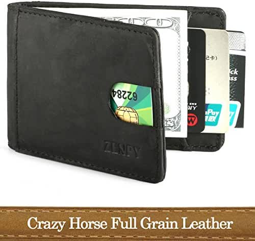 Zenpy Crazy Horse Full Grain Leather RFID Blocking Bifold Front Pocket Wallets Money Clip Slim Minimalist Wallet for Men