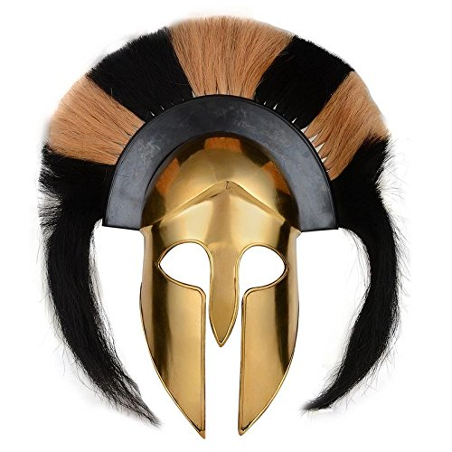 BRASS ANTIQUE GREEK CORINTHIAN ARMOR HELMET W/BLACK & WHITE PLUME REPLICA ARMOR (Imperial Royal Guard Costume)