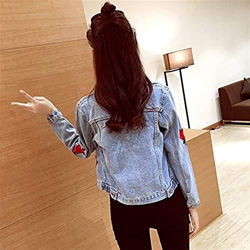 Autunno Autunno Donne Lunga Primaverile Outwear Fashion Tempo Fiore Fiore Fiore Giaccone Casuale Cappotto Vintage Denim Ricamate Jeans Manica Bavero Blu Donna Eleganti Corto Jacket Libero Battercake qpxUv7Fw