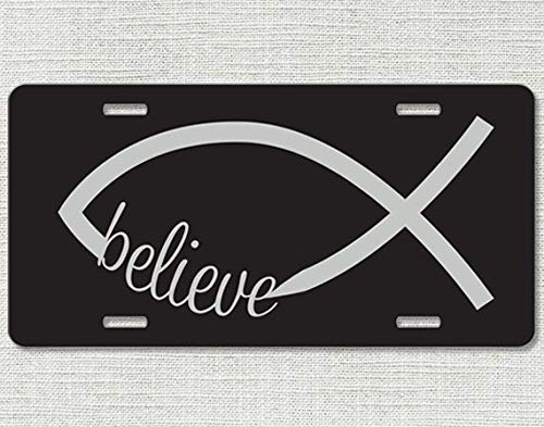 Believe Jesus Fish Car Tag Front License Plate Christian Fish