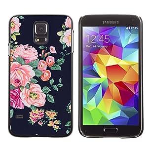 FlareStar Colour Printing Rose Black Vignette Rustic Floral Textile cáscara Funda Case Caso de plástico para SAMSUNG Galaxy S5 V / i9600 / SM-G900F / SM-G900M / SM-G900A / SM-G900T / SM-G900W8