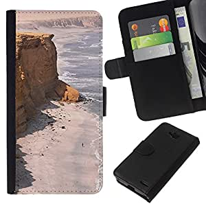 KingStore / Leather Etui en cuir / LG OPTIMUS L90 / Costa Desert Ocean Sand Beach;