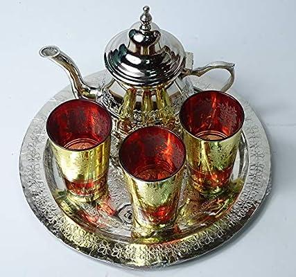 Bandeja repujada 25 cm x 3 Vasos x Tetera para 3 kenta artesanais Juego de t/é marrakchi