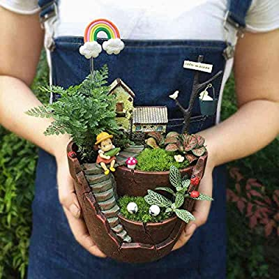 Goldblue Plants Pot Tiny Creative Flowers Succulent Plants Pot Holders Hanging Garden Design with Sweet House (Orange): Garden & Outdoor