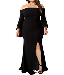 e8450c78ef0 Lalagen Women s Plus Size Off Shoulder Bodycon Long Evening Party Dress Gown