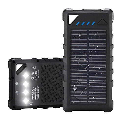 FKANT Waterproof Solar Charger   Portable 16000mAh Dual USB Power Bank   IPX7 Waterproof External Battery Pack with 4LED Flashlight   For iPhone 8 iPad Samsung S8 Note8 Android Phones