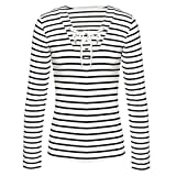 Lowprofile Juniors Womens Fashion Lace Up Shirt Long Sleeve V Neck Tunic Tops Casual Striped T-Shirt Tee (Asian M, White)