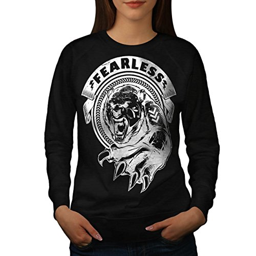 [Fearless Wild Animal Tiger Bear Women NEW S Sweatshirt | Wellcoda] (Bear Jew Costume)