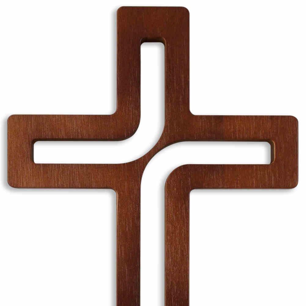Croix murale en bois Croix Design Moderne Marron fonc/é bris/é laqu/é 25/x 15,5/x 1,5/cm Bijoux CROIX pour le mur