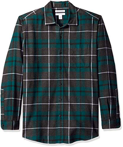 Green Plaid Shirt Button Down (Amazon Essentials Men's Regular-Fit Long-Sleeve Plaid Flannel Shirt, Green/Charcoal Heather, Small)