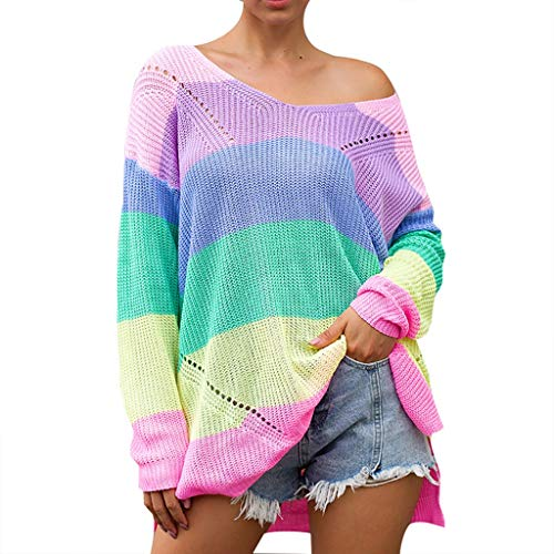 〓COOlCCI〓Tie Dye Blouse,Women's Loose Long Sleeve Comfy Swing Tunic Top Blouse T-Shirt Tee Rainbow Solid Knitted Tops