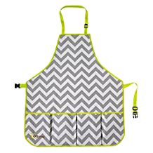 Ogrow High Quality Gardener's Tool Apron with Adjustable Neck and Waist Belts, Grey/White Chevron, Large