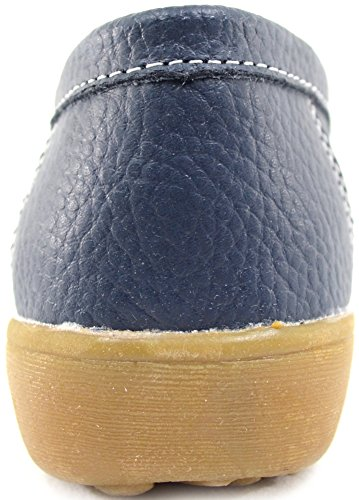 Ladies / Womens 100% Leather Casual / Formal Slip On Summer / Holiday Flats / Shoes Navy JYO7gdP