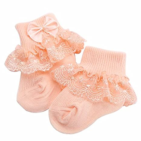 Amazon.com : Size 0- 6 Month 5 Pairs Frilly Lace Baby Socks For Newborn Girls Solid Color;Cotton Princess Calcetines Nina Bow-knot Chaussette Bebe ...