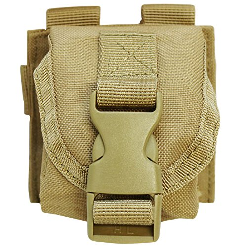 (TAN Tactical M67 One Single Frag Hand Grenade Pouch Molle Pals Bag Holds 1)